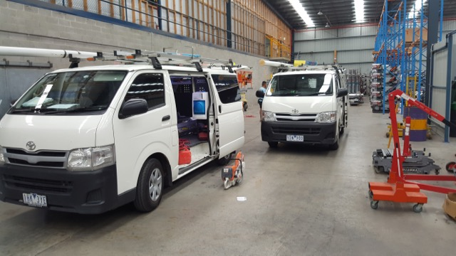 Work vans and working on site