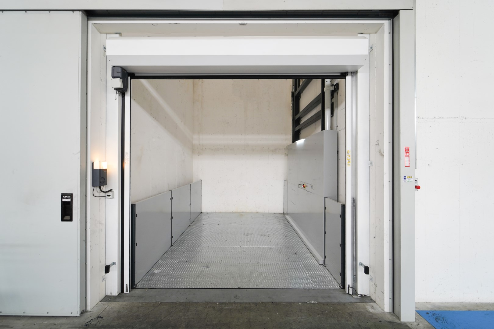 Front view of the internal space of the lift